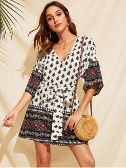 Boho Tunic Tribal Loose V neck Three Quarter Length Sleeve Flounce Sleeve Natural Multicolor Short Length Tribal Print V-neck Self Belted Dress with Belt
