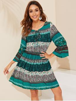 Boho A Line Tribal and Ditsy Floral Loose Round Neck and Tie Neck Three Quarter Length Sleeve Flounce Sleeve Natural Multicolor Short Length Tie Neck Tribal Print Bell Sleeve Dress
