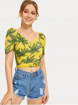 Boho Tropical Top Slim Fit V neck Short Sleeve Pullovers Yellow Crop Length Tie Back Tropical Print Wrap Blouse