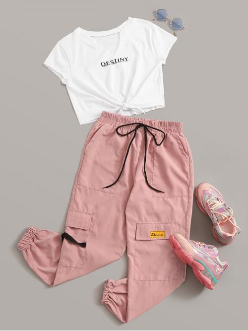 Casual Letter Tapered/Carrot Notched Cap Sleeve Multicolor Letter Graphic Knot Front Tee & Cargo Pants Set