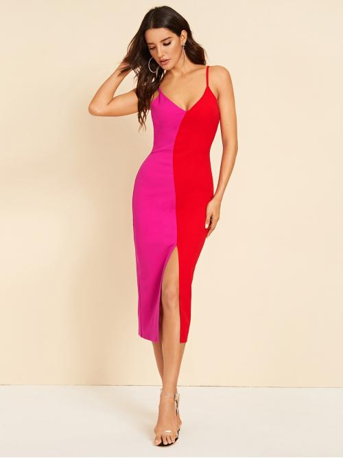 Sexy Bodycon Colorblock Slit Slim Fit Spaghetti Strap Sleeveless Natural Multicolor and Bright Long Length Neon Two Tone Slit Hem Cami Dress