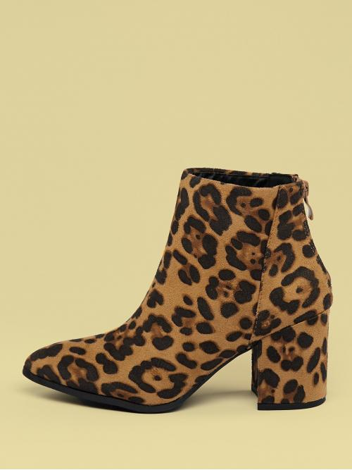 Glamorous Other Point Toe Leopard Back zipper Multicolor High Heel Chunky Pointed Toe Chunky Heel Leopard Booties