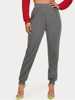 Casual Plain Sweatpant Regular Elastic Waist High Waist Grey Cropped Length Solid Cuffed Hem Joggers