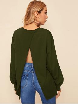 Sexy Pullovers Plain Regular Fit Round Neck Long Sleeve Bishop Sleeve Army Green Longline Length Drop Shoulder Wrap Split Back Pullover