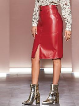 Glamorous Straight Plain Mid Waist Red Above Knee/Short Length Buckle Belted Split Hem PU Skirt with Belt