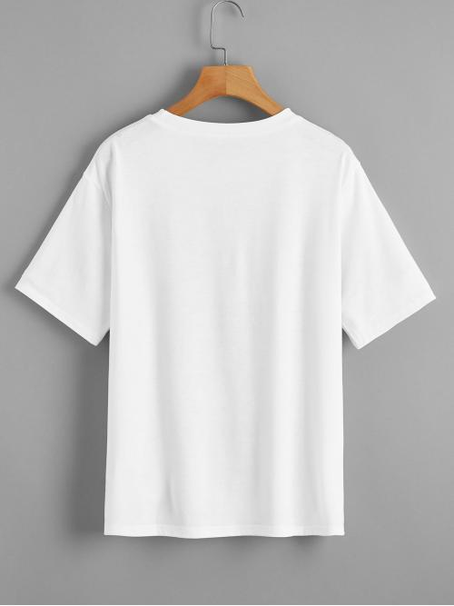 Short Sleeve Polyester Slogan White Sun Moon and Graphic Tee on Sale