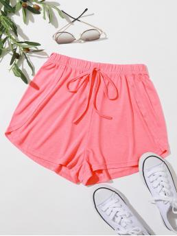 Pink Natural Waist Knot Track Shorts Solid Front Dolphin Shorts on Sale