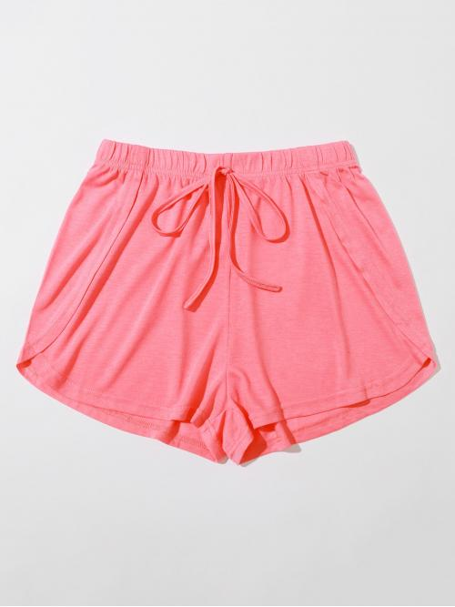Beautiful Pink Natural Waist Knot Track Shorts Solid Front Dolphin Shorts