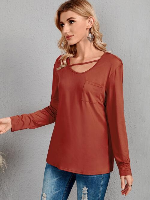 Long Sleeve Cut out Polyester Plain Emery Rose Solid Patched Pocket Tee on Sale