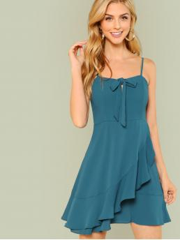 Casual Cami Plain Wrap Loose Spaghetti Strap Sleeveless Natural Blue Short Length Bow Tied Front Ruffle Trim Dress
