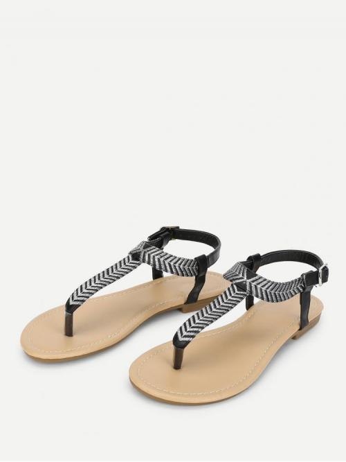 Affordable Polyester Black and White Thong Sandals Embroidery Detail Flat Sandals