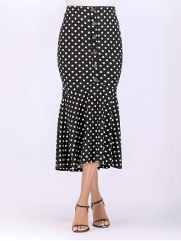 Elegant Mermaid Polka Dot Mid Waist Black Long/Full Length Button Polka Dot Skirt