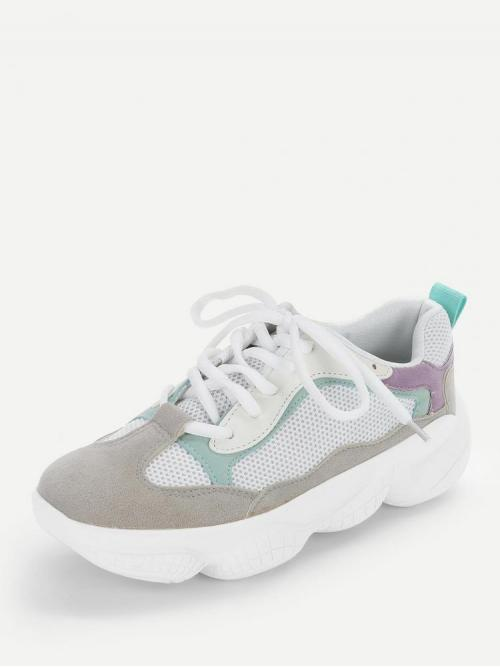 Suede Grey Chunky Trainers Zipper Colorblock Chunky Sneakers Affordable