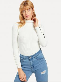 Long Sleeve Basic Tops Button Faux Fur Snap Sweater Fashion
