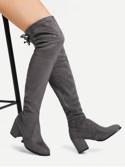 Glamorous Almond Toe OTK/Thigh High No zipper Grey Mid Heel Chunky Suede Over The Knee Boots