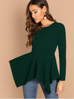 Elegant Plain Asymmetrical Peplum Slim Fit Round Neck Long Sleeve Regular Sleeve Pullovers Green Regular Length Solid Hanky Hem Peplum Top
