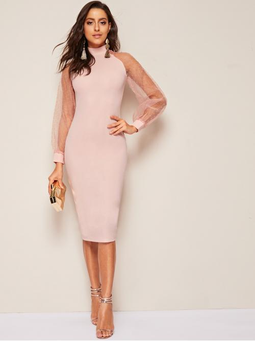 Elegant Bodycon Plain Pencil Slim Fit Stand Collar Long Sleeve Natural Pink and Pastel Midi Length Swiss Dot Mesh Sleeve Slit Hem Pencil Dress