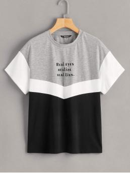 Casual Letter and Colorblock Regular Fit Round Neck Short Sleeve Pullovers Multicolor Regular Length Letter Graphic Cut-and-sew Tee