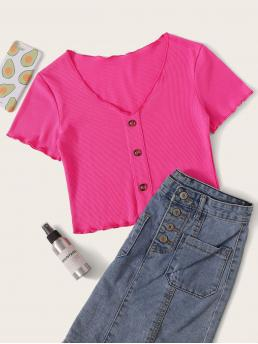 Casual Plain Slim Fit V neck Cap Sleeve Pullovers Pink Crop Length Ribbed Button Front Lettuce Trim Tee