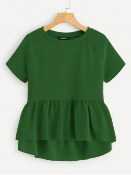 Cute Plain Flared Peplum Regular Fit Round Neck Short Sleeve Pullovers Green Regular Length Raglan Sleeve Peplum Top