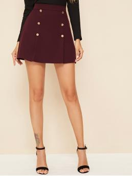 Casual A Line Plain High Waist Burgundy Mini Length Solid Double Breasted Mini Skirt