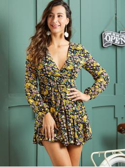 Boho A Line Floral Flared Regular Fit Deep V Neck Long Sleeve Regular Sleeve High Waist Multicolor Short Length SBetro Ditsy Floral Print Tie Back Dress