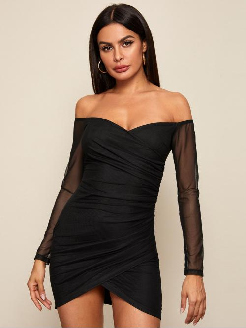 Sexy Bodycon Plain Pencil Slim Fit Off the Shoulder Long Sleeve Regular Sleeve Natural Black Mini Length Off Shoulder Sheer Sleeve Ruched Mesh Dress