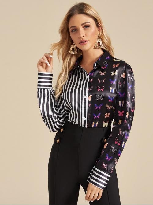 Casual Striped and Animal Shirt Regular Fit Collar Long Sleeve Regular Sleeve Placket Multicolor Regular Length Satin Butterfly & Striped Buttoned Spliced Blouse