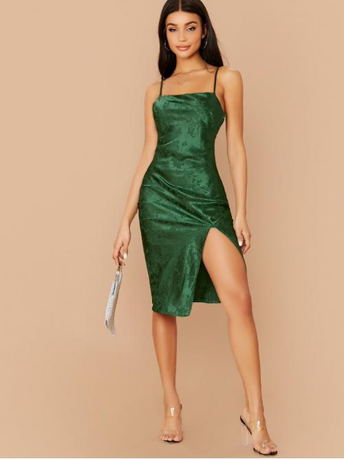 Sexy Cami Floral Slit Regular Fit Spaghetti Strap Sleeveless Natural Green Short Length Floral Jacquard Side Slit Midi Cami Dress