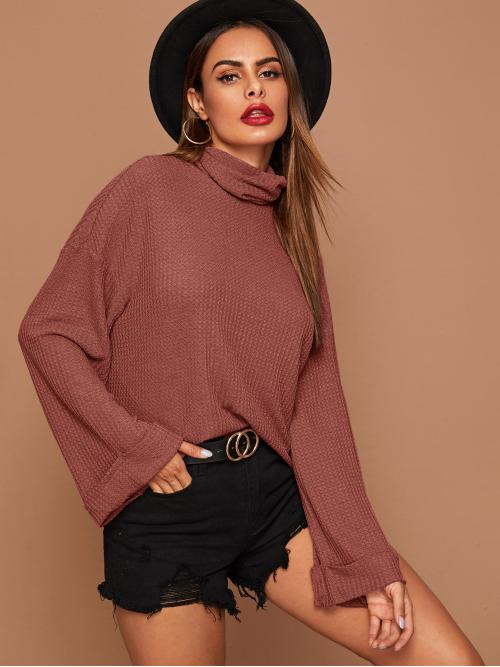 Casual Plain Regular Fit Funnel Neck Long Sleeve Flounce Sleeve Pullovers Nude Regular Length Funnel Neck Roll Up Sleeve Waffle Knit Tee