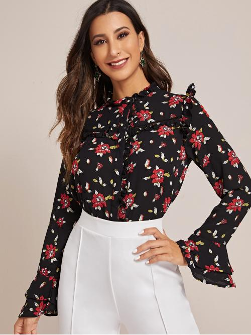 Casual Floral Shirt Regular Fit Stand Collar Long Sleeve Flounce Sleeve Placket Black Regular Length Floral Print Frill Trim Button Through Blouse