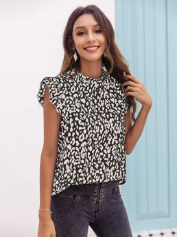 Pretty Cap Sleeve Top Frill Polyester Sleeve Blouse