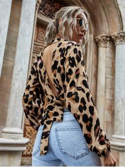 Long Sleeve Top Tie Back Polyester Leopard Print Open-back Mock Neck Top Clearance