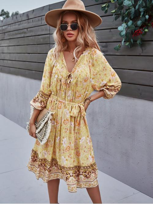 Yellow all over Print Belted Tie Neck Floral Print Dress Pretty