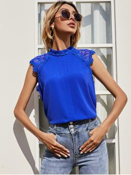 Sleeveless Top Contrast Lace Polyester Mock Neck Blouse on Sale