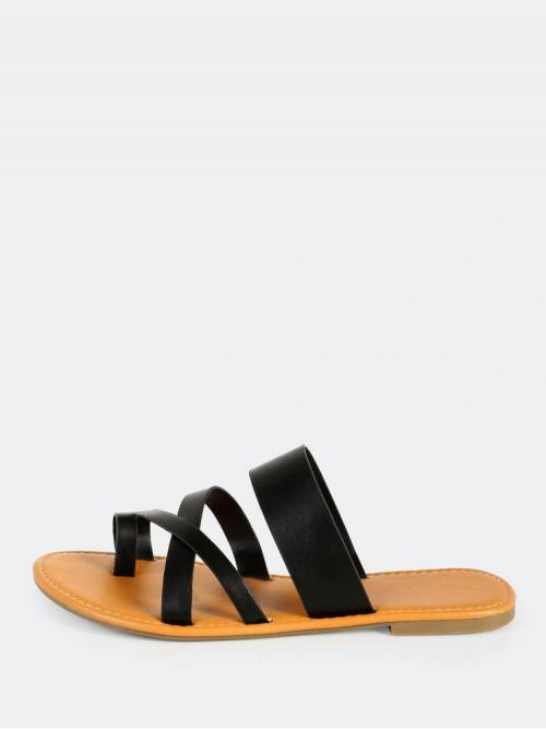 Corduroy Black Strappy Sandals Tassel Faux Leather Toe Ring Sandals Shopping