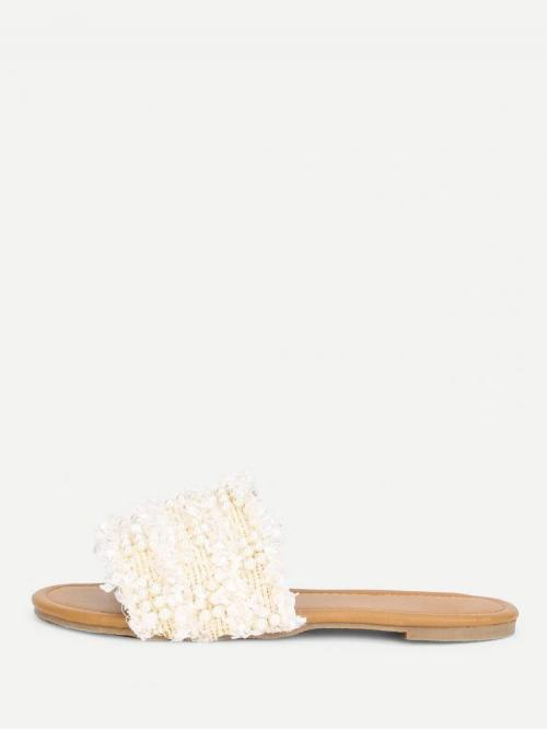 Corduroy White Strappy Sandals Buckle Faux Pearl Detail Flat Sandals Affordable