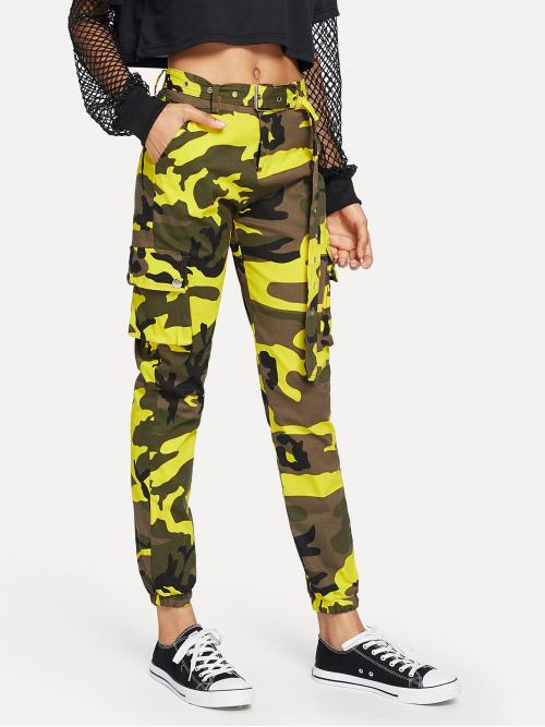Casual Camo Cargo Pants Regular Zipper Fly Mid Waist Multicolor Long Length Camo Pocket Belted Pants with Belt