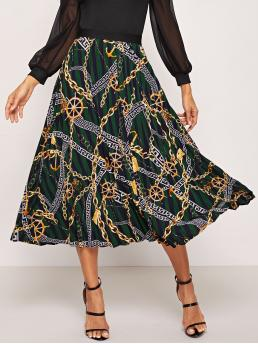 Casual Pleated Multicolor Maxi Length Chain Print Skirt