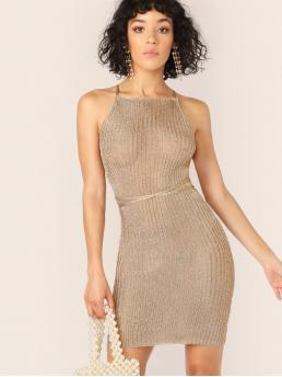 Glamorous and Sexy Halter Sleeveless Natural Gold Short Length Halter Neck Metallic Lace Up Cover Up Dress