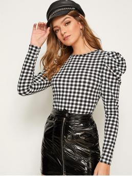 Elegant Gingham Top Regular Fit Round Neck Long Sleeve Leg-of-mutton Sleeve Pullovers Black and White Regular Length Gigot Sleeve Gingham Fitted Blouse