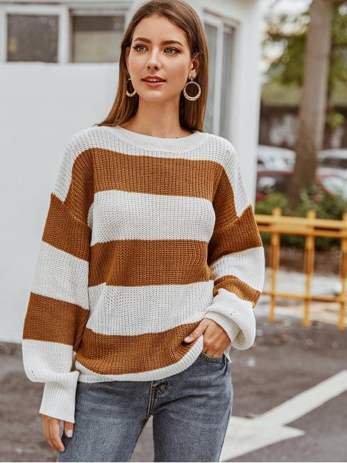 Casual Striped and Colorblock Pullovers Oversized Round Neck Long Sleeve Regular Sleeve Pullovers Multicolor Regular Length Two Tone Drop Shoulder Sweater