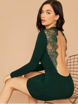 Sexy Bodycon Plain Pencil Slim Fit Round Neck Long Sleeve Regular Sleeve Natural Green Mini Length Lace Insert Backless Bodycon Dress
