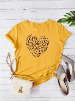 Casual Heart and Leopard Regular Fit Round Neck Short Sleeve Regular Sleeve Pullovers Yellow Regular Length Leopard Heart & Letter Graphic Tee