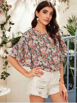 Casual Floral Top Regular Fit Round Neck Half Sleeve Pullovers Multicolor Regular Length Floral Print Flounce Sleeve Blouse
