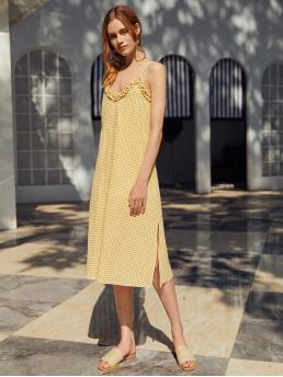 Fashion Yellow Gingham Split Spaghetti Strap Frill Trim Side Dress
