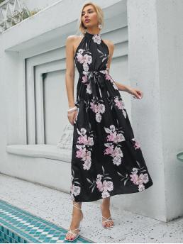 Shopping Black Floral Button Halter Dress