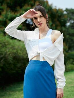 Beautiful Long Sleeve Shirt Button Front Cotton Golf Solid Blouse