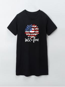 Black Letter Round Neck Short American Independence Day Print Tee Dress on Sale