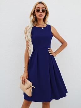 Pretty Royal Blue Plain Zipper Round Neck Solid Fit & Flare Dress Without Bag